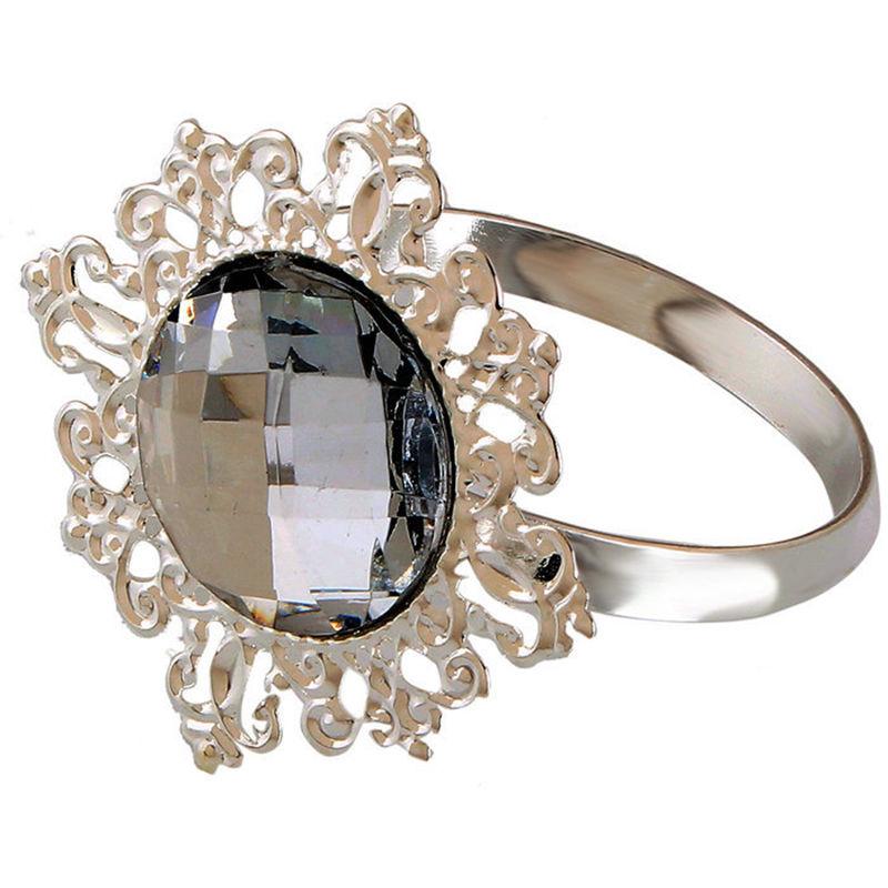 12 stk Serviett ring – Sølv Diamant